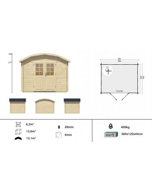 Kerti faház Klair 300x240 - 6m²