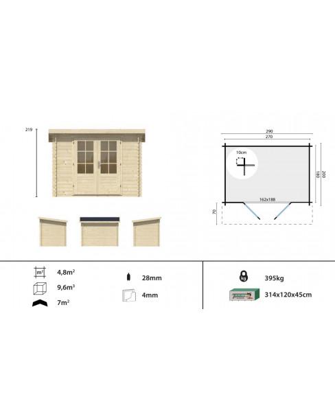 Kerti faház Kris 290x200 - 4m²