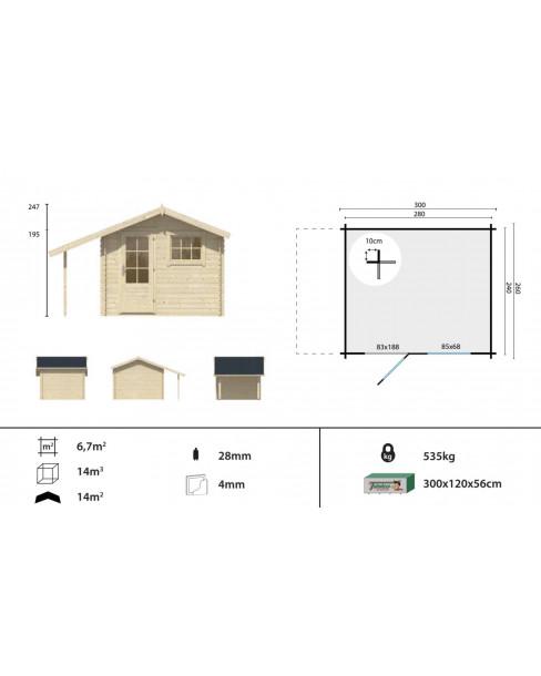 Kerti faház Lars 300x260 - 6m²