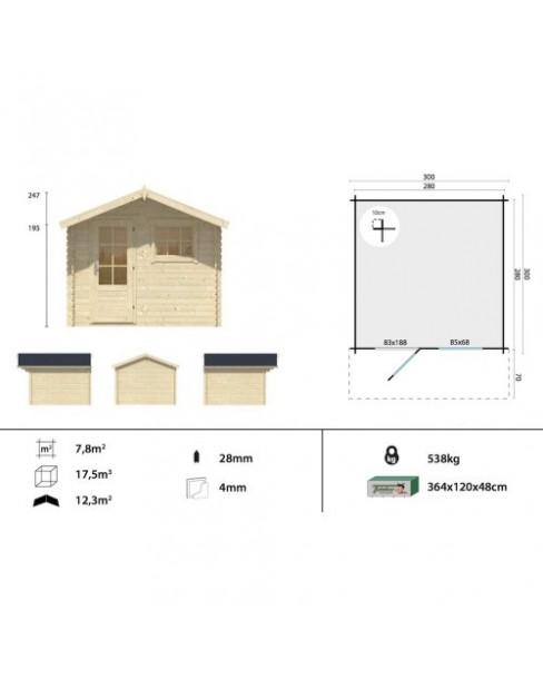 Kerti faház Bo 300x300 - 7m²