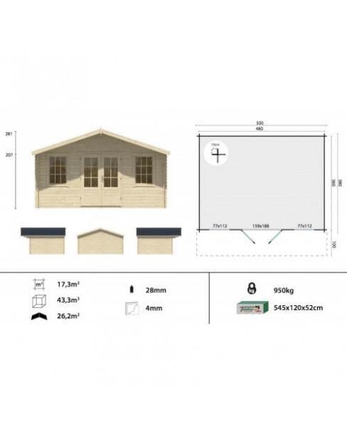 Kerti faház Viggo 500x380 - 17m²