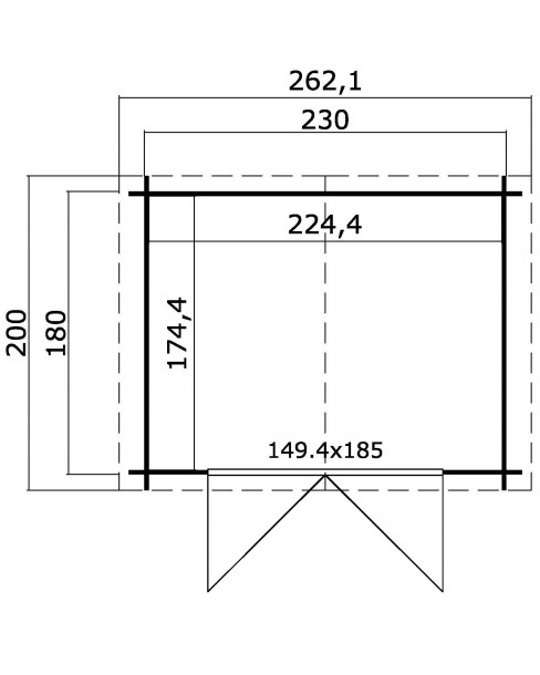 Kerti Faház LM - Los Angesles 2318 padló nélkül 3,91m²
