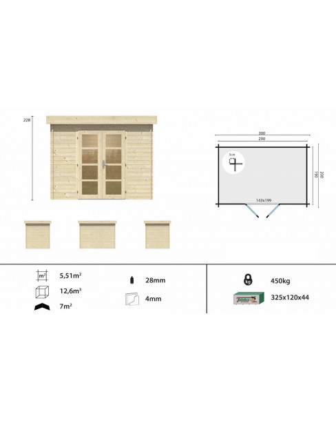 Kerti faház Minimodern 300x200 - 5m²