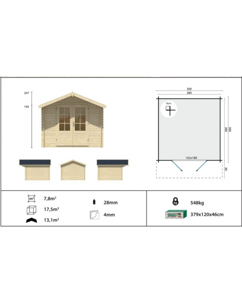 Kerti faház Perlund 300x300 - 7m²