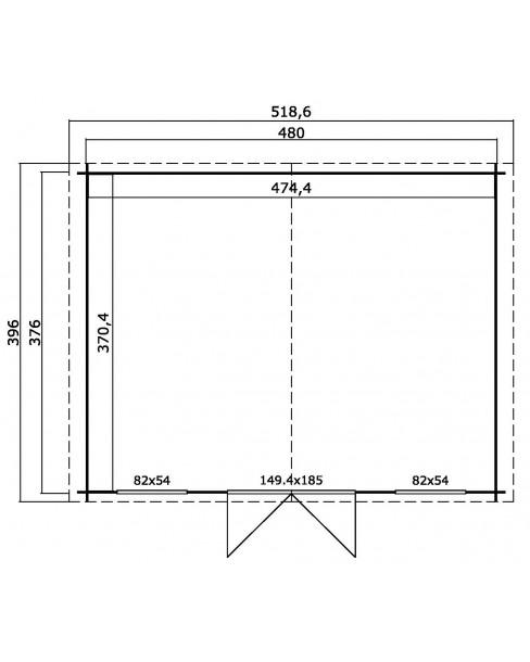 Kerti Faház LM - Washington 4837 padló nélkül 17,57m²