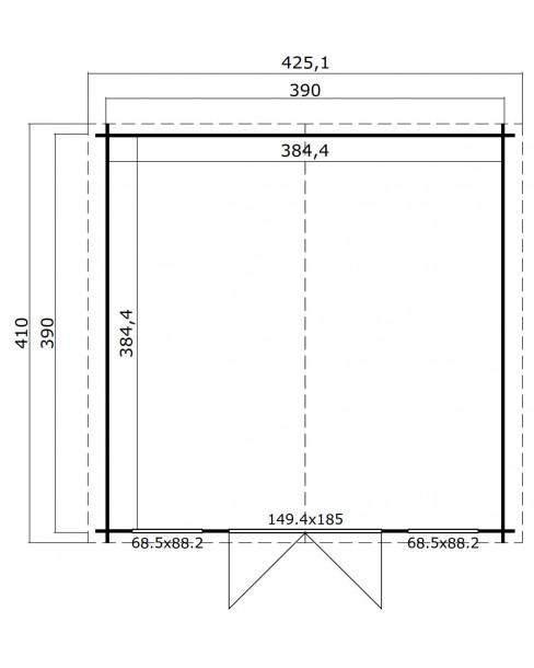 Kerti Faház LM - Wels 4DT 3939 padlóval 14,78m²