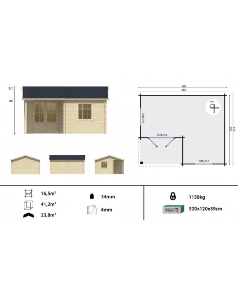 Kerti faház Johan 500x410 - 16m²