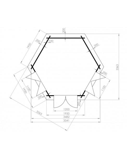 Kerti faház Nora 363x312 - 7m²