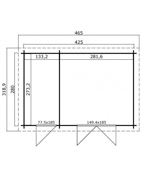 Kerti Faház LM - Belmont 2 4228 padlóval - 2 helyiséges 11,43m²