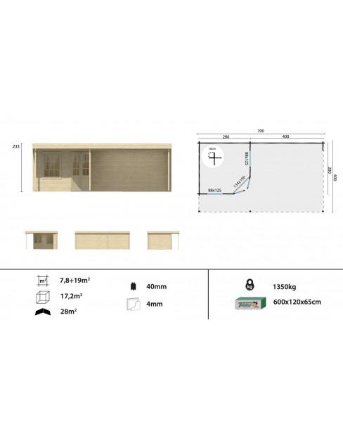 Kerti faház Annette 700x400 - 26m²