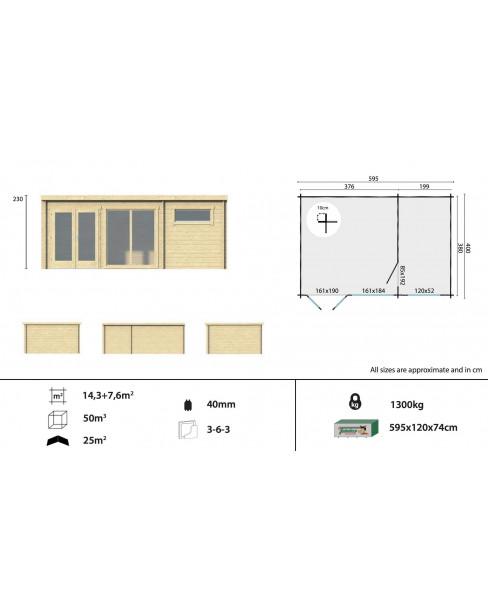 Kerti faház Flow 595x400 - 22m²