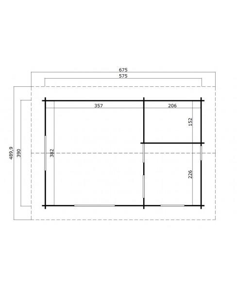 Kerti Faház LM - Caroline 5739 padlóval, tetőtéri hálófülkével 21,66m²