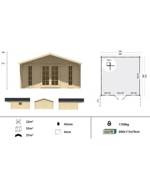 Kerti faház Emiel 500x500 - 22m²