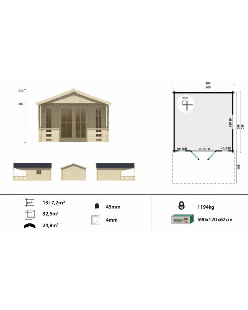 Kerti faház Hedvig 380x380 - 20m²