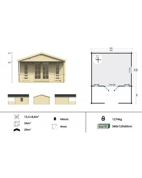 Kerti faház Heino 450x380 - 24m²