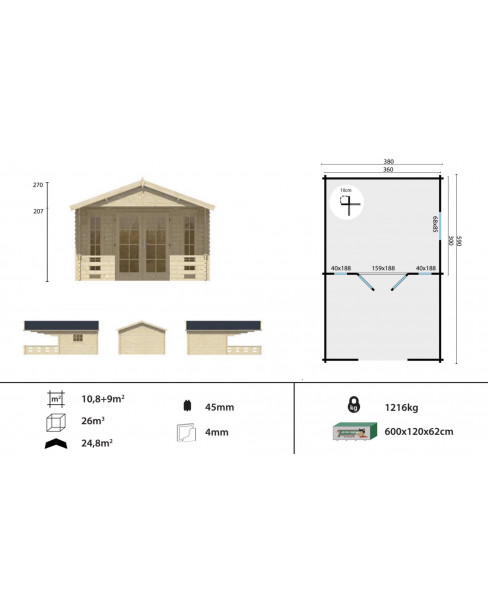 Kerti faház Sanstrov 380x590 - 19m²