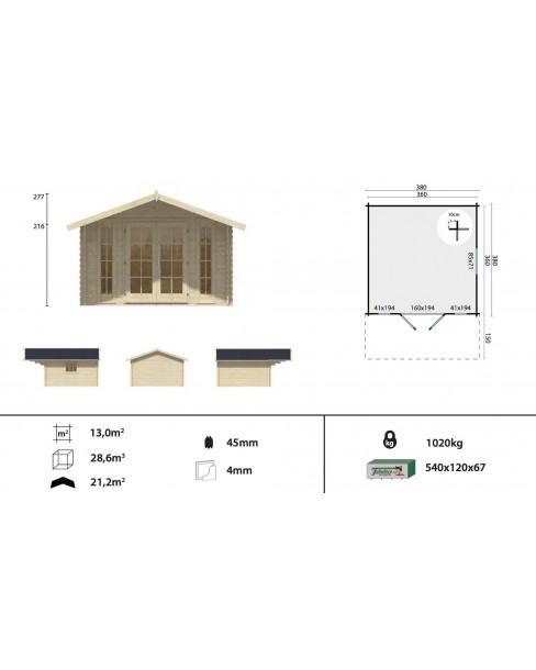 Kerti faház Sören 380x380 - 13m²