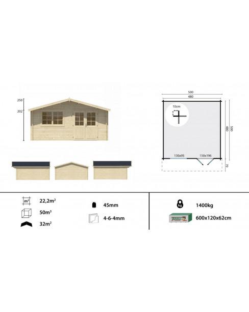 Kerti faház Hendrick 500x500 - 22m²