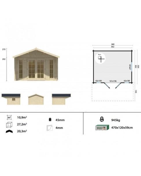 Kerti faház Inglund 380x320 - 10m²