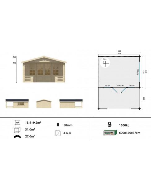 Kerti faház Bolton 440x543 cm - 24m²