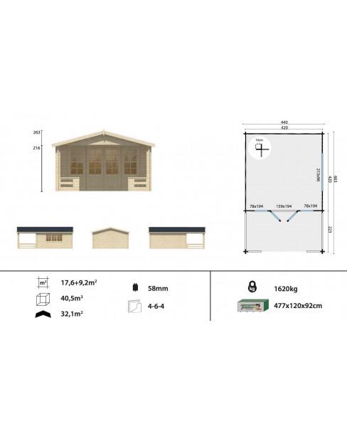 Kerti faház Ipswich 440x643 cm - 26m²