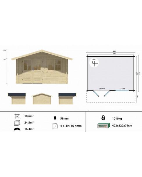Kerti faház Rorik 400x300 cm - 10m²