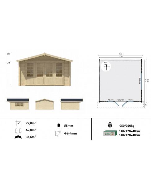 Kerti faház Southampton 540x540 cm - 27m²