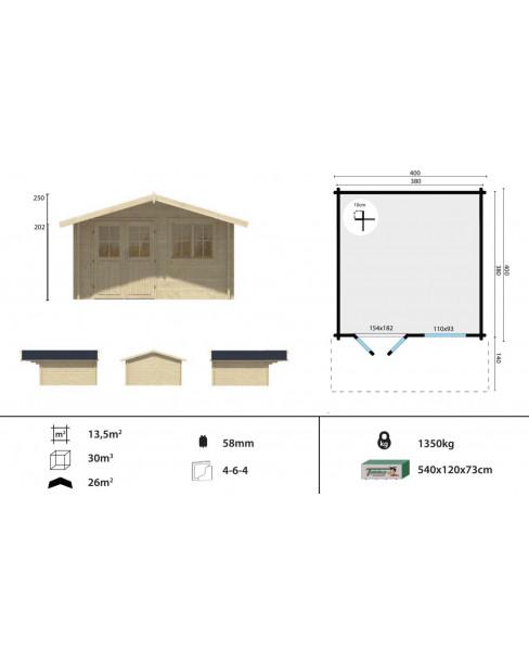 Kerti faház Stian 400x400 cm - 13m²