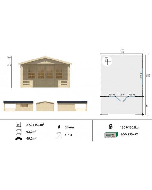 Kerti faház Watford 540x830 cm - 42m²