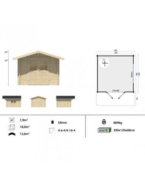 Kerti faház Lennart 300x300 cm - 7m²
