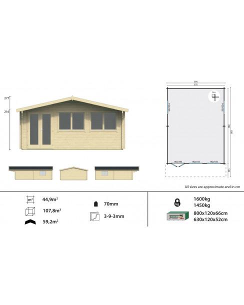 Kerti faház Ballyragget 595x800 cm - 44m²