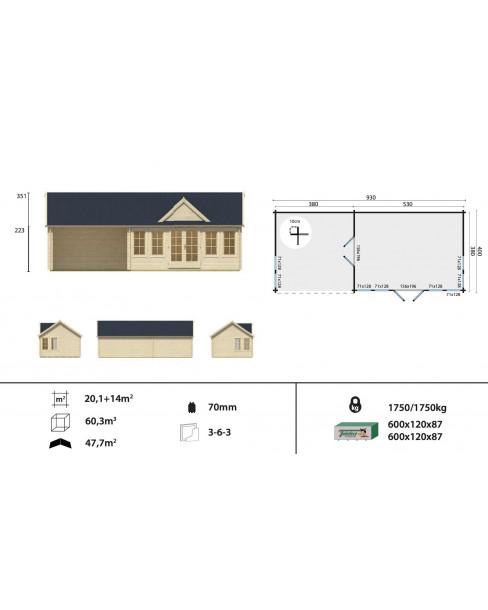 Kerti faház Ben 930x400 cm - 34m²