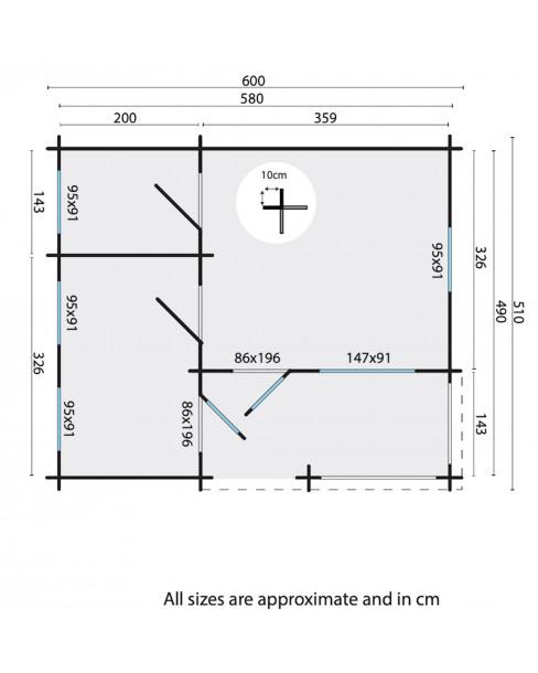 Kerti faház Edelweiss 510x600 cm - 28m²
