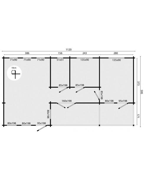 Kerti faház Letterkenny 1120x600 cm - 58m²