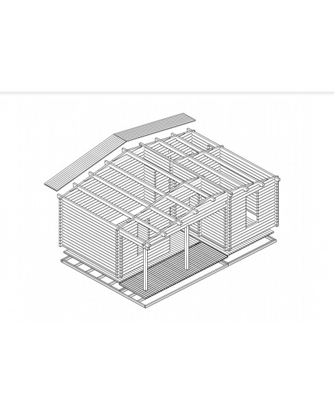 Kerti faház Ollie 731x498 cm - 31m²