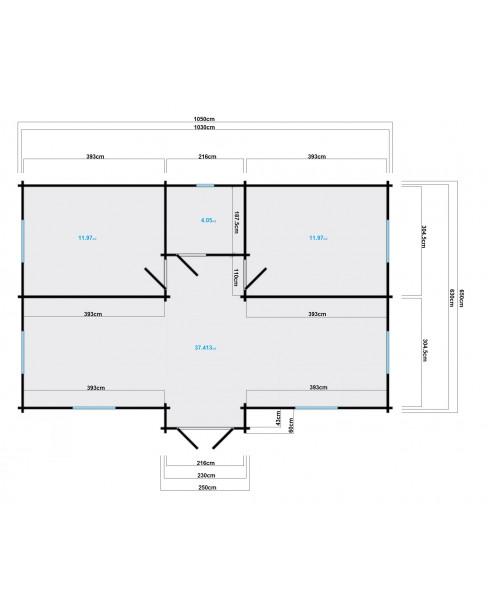 Kerti faház Skerries 1050x650 cm - 65m²