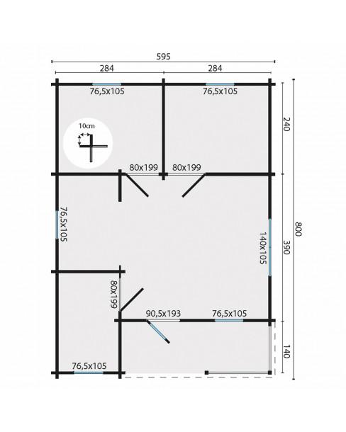 Kerti faház Kay 595x800 cm - 44m²