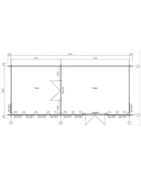 Kerti faház Lauren 930x400 cm - 32m²